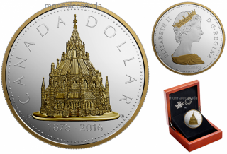2016 - $1 - Pure Silver Library of Parliament 2 oz. Gold-Plated Coin