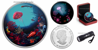2016 - $30 - 2 oz. Pure Silver Glow-in-the-Dark Coin – Illuminated Coral Reef