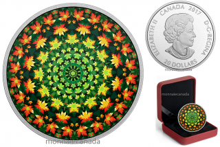 2017 - $20 - 1 oz. Pure Silver Coloured Coin – Canadiana Kaleidoscope: Maple Leaf