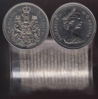 1981 Canada 50 Cents - Half Dollar - BU ROLL 20 Coins - UNC