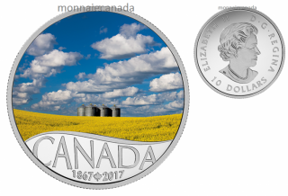 2017 - $10 - Canada's 150th Coin Series - Canola Field - 1/2 oz. Pure Silver