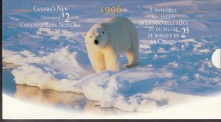 1996 - canada new's uncirculated coin and bank note set