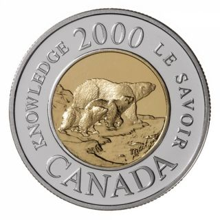 2000 Family of Bears Proof $2  Sterling Silver Coin Gold Plated