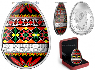 2016 - $20 - 1 oz. Fine Silver Coloured Coin – Traditional Ukrainian Pysanka