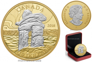 2018 - $20 - 1 oz. Reverse Gold-Plated Pure Silver Coin - Iconic Canada: Inukshuk