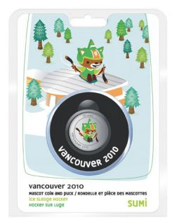 2010 - 50 Cents - Sumi Olympic Mascot Puck and Coin Set - Vancouver
