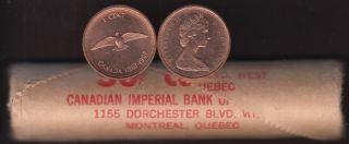 1967 Canada 1 Cent Dove - BU ROLL 50 Coins - UNC