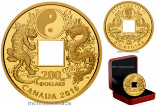 2016 - $200 - Pure Gold Coin – Tiger and Dragon Yin and Yang