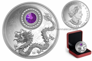 2016 - $5 - Fine Silver Coin made with Swarovski® Crystal – Birthstones: February