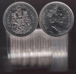 1993 Canada 50 Cents - BU Rouleau 22 pièces - Emballage dans un Tube de Plastique