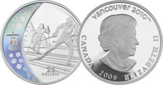 2009 - $25 Silver Hologram Coin – Cross Country Skiing