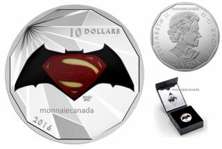 2016 - $10 - 1/2 oz. Fine Silver – Batman v Superman: Dawn of JusticeTM - Logo