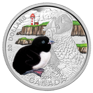 2014 - $20 - 1 oz. Fine Silver Coin - Baby Atlantic Puffin
