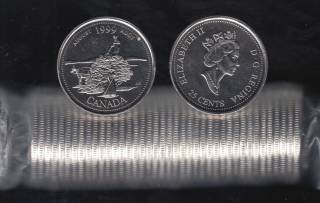 1999 Canada 25 Cents August - BU ROLL 40 Coins - UNC