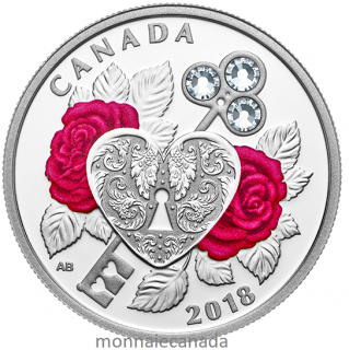 2018 - $3 - Celebration of Love - Pure Silver Coin made with Swarovski® Crystals