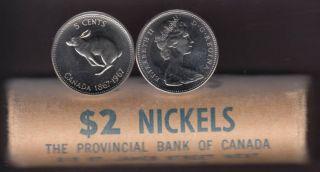 1967 Canada 5 Cents Rabbit - BU ROLL 40 Coins - UNC