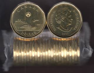 2012 Canada Roll $1 Dollar - Loon - New Generation - 25 Coins - UNC