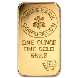 RARE Swiss Bank Corporation Bar 1 OZ  Fine Gold .999 - AVAILABLE IN STORE ONLY - NO TAX