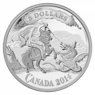 2014 - $5 -  Fine Silver Coin - Canadian Bank Note Series: Saint George Slaying Dragon