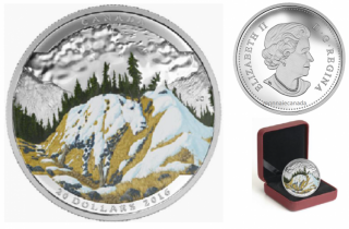 2016 - $20 - 1 oz. Fine Silver Coloured – Landscape Illusion - Mountain Goat