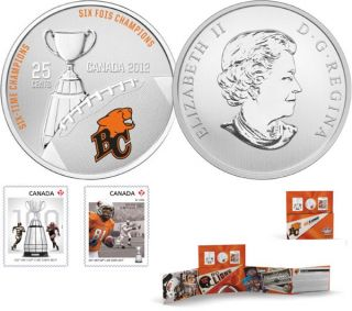 2012 - The BC Lions - 25-Cent Coloured Coin and Stamp Set