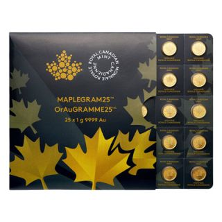 2015 - 25 g (25 x 1 g) 2015 Maple 25 Gram  Sheet of Gold Coins * PHONE ONLY *