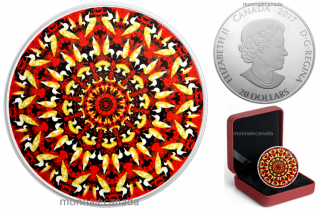 2017 - $20 - 1 oz. Pure Silver Coloured Coin – Canadiana Kaleidoscope: The Loon