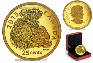 2015 - 25¢ - 0.5 g Pure Gold Coin - Rock Rabbit