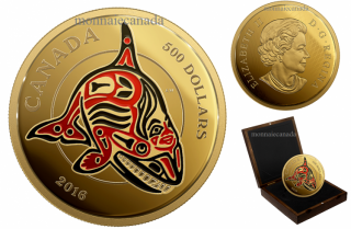 2016 - $500 - 5 oz. Pure Gold Coin with Enamel - Mythical Realms of the Haida Series: The Orca