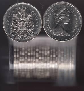 1979 Canada 50 Cents - Half Dollar - BU ROLL 21 Coins - UNC