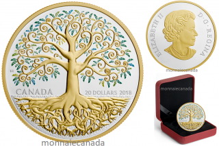 2018 - $20 - 1 oz. Pure Silver Gold-Plated Coin - Tree of Life