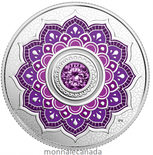 2018 - $5 - February Birthstone - Pure Silver Coin made with Swarovski® Crystal