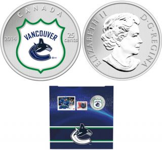 2014 - NHL Coin and Stamp Gift Set - Vancouver Canucks