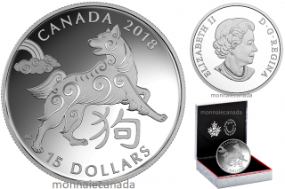 2018 - $15 - 1 oz. Pure Silver Coin - Year of the Dog