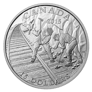 2015 - $15 - Fine Silver - Building the Canadian Pacific Railway