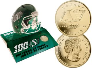 2010 $1 Saskatchewan Roughriders Pop Up Football Helmet with Dollar Gold Plated