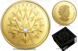 2017 - $250 - Pure Gold Coin with 0.20 ct Canadian Diamond - Celebrating Canadian Brilliance