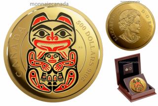 2016 - $500 - 5 oz en or pur rehaussée d'émail – Série Royaumes mythiques des Haïdas : L'ours