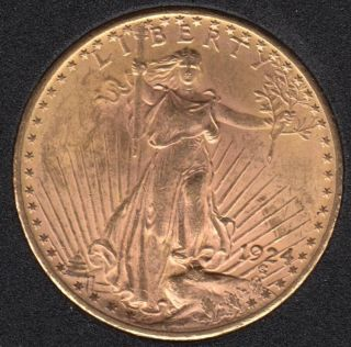 US 1924 St Gaudens Double Eagle $20 Dollar Gold Coin