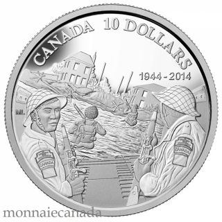 2014 - $10 - 1/2 oz. Fine Silver Coin - 70th Anniversary of D-Day