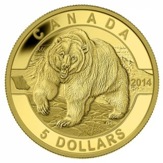 2014 - 1/10 oz -$5 - Pure Gold Coin - The Grizzly Bear