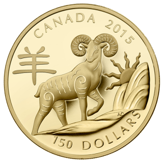 2015 - $150 - 18-karat Gold Coin - Year of the Sheep