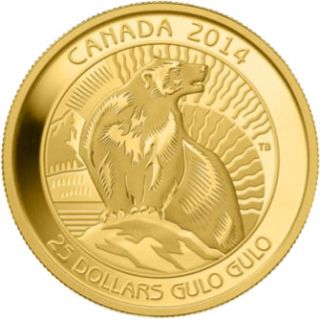 2014 - $25 - 1/4 oz. Pure Gold Coin - Wolverine