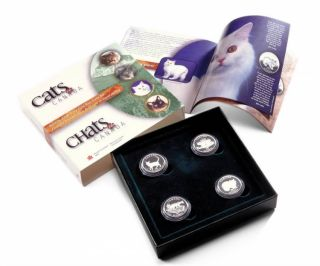 1999 Sterling Silver Fifty cents Four coin Set 50 cent cats canada