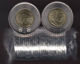 2016 Canada $2 Dollars - Polar Bear - BU ROLL 25 Coins - UNC