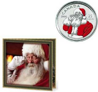 2004 P Holiday Gift Set - 25 cents Santa Claus Coloured - 7 Coins Set