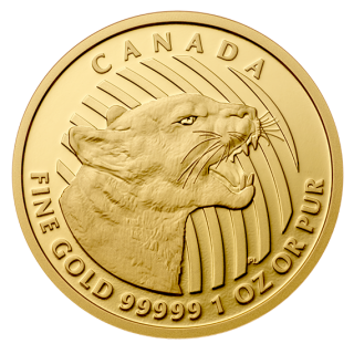 2015 - $200 - 1 oz. 99.999% Pure Gold Coin Growling Cougar