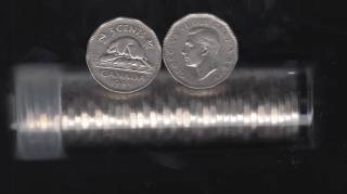 1949 Canada 5 Cents - Roll 40 Coins in Plastic Tube