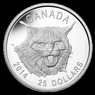 2014 - $25 - Fine Silver Ultra-High Relief Coin – Canada Lynx