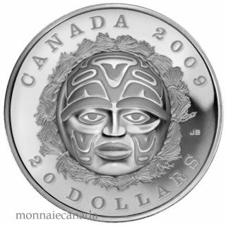 2009 $20 Silver Coin - Summer Moon Mask